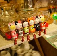 Nordic fishing cat painted wood crafts gifts wood carving C1420 Liu Jiantao