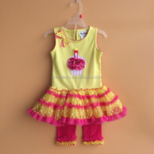hot baby clothing outfit cake ruffle lace clothes set for resellers with handmade