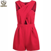 Roupas Femininas 2015 Summer Women Clothing Elegant Clothes Ladies Fashion Red Sleeveless Cross Hollow Female Fitness Jumpsuit