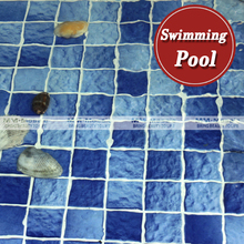 48x48mm wave pattern blue square ceramic mosaic tile for swimming pool
