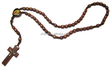 Heart Of Jesus Maria Icon Olive Wood Beads Classic Rosary & Jesus Figure Cross Crucifix