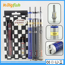 New variable voltage ecig 1.5ohm atomizer evod twist 3 m16 e cigarette in the market with factory price