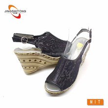 Back strap high heel wedge sandals/lace breathable shoes beach sandal wedge