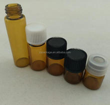 1ml 2ml 3ml 5ml small glass vials sample dropper bottle 1/4 Dram 1ml Amber Glass Vial With Orifice Reducer & Black Cap