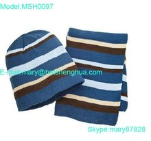 2012 man's striped kniteed beanie and scarf set (MSH0097)