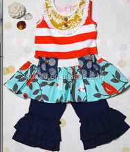 2015 New Arrival Bird Printed Girl Clothing For Girls Fall Boutique Outfits In Bulk Price Girl Clothing