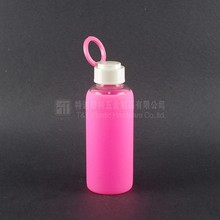 Hot Selles energy 420ml &14oz water Glass Water Bottle,Pink Color Glass Bottle