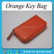 Orange Portable 7 Clips PU Leather Wallet Cover Car Keychain Key Holder Key Bag Case