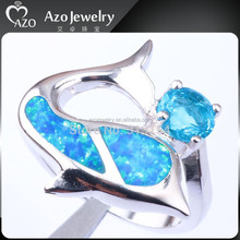 2015 Cute 925 Sterling Silver Blue Opal Dolphin Ring with Aquamarine Stone
