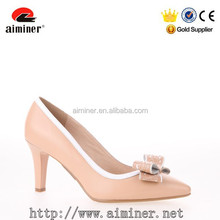 Real Leather thin Heel with White Butterfly Women Shoes