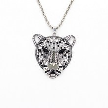 Big Crystal Leopard Pendant Necklace Bead Leopard Pendant