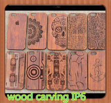 2015 newest wood carving case for iphone 6 Carved Wood Phone Case for iphone 6