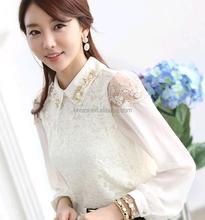 C21561B Korean Style Ladies Long Sleeves Plain White Tops