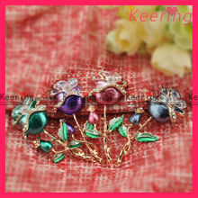 wholesale new design colored brooches with rose flower and rhinestone assorted WBR-1258