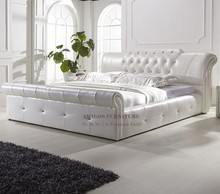 New design double bed white luxury furniture king size bed