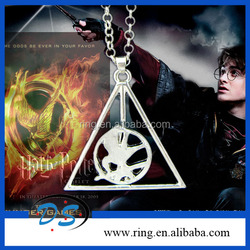 New Happy Potter Deathly Hallows And The Hunger Games Bird Become One Necklace