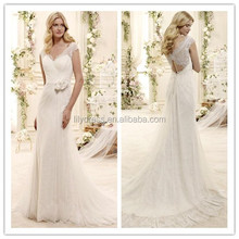 Appliques Sexy MM-1180 Empire Mermaid One Piece 2015 Crocheted V-Neck Suzhou Slimming Patterns Fashionable Lace Wedding Dresses
