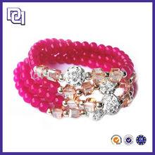 NEW DESIGN OVERLAPP ROSE-BENGAL BEAD BRACELET,WOMEN FASHION BRACELET WITH DIAMOND BALL AND SQUARE CRYSTAL CHARM BRACELET