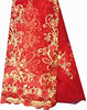 Red+beige embroidery tulle cotton bridal lace fabric new organza wedding lace fabric for dress
