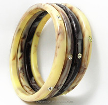 Vintage look jewelry nebulous thin poly resin bracelet bangle with rhiestone