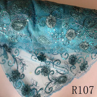 Tur blue 2015 Competitive pricc good quality tulle lace for african parties/tulle fabric with sequins