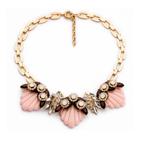 artificial flower chunky statement necklace