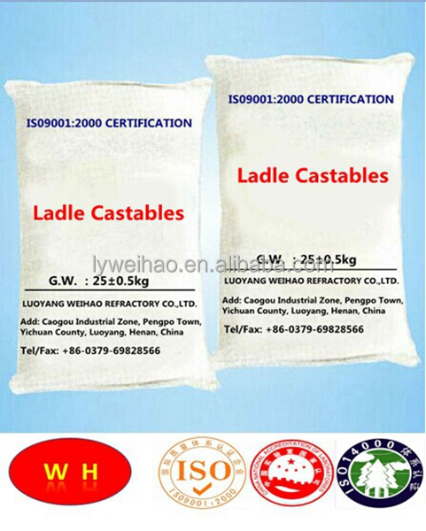 High alumina castable refractory cement for steel ladle