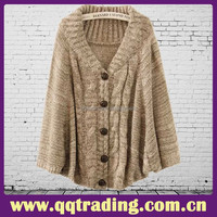 Fashion 2015 Cloak sweater large collar single breasted wool knitted sweater for women young ladies