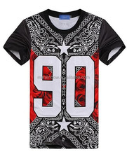 custom Mens Summer sublimation printing tee ,Hip Hop Rose Printing 3D T Shirts OEM for fashion youth
