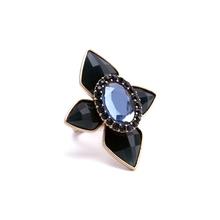 2015 Vintage Fashion Women Blue Lucite Gem Stone Ring Design