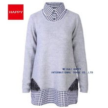 SWEATER FABRIC COMBINATION PULLOVER WOMEN KNITWEAR