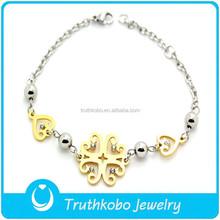 nuovo design intrecciato rosario bracciali in acciaio inox oro braccialetto rosario per le ragazze