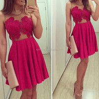 W811 Beautiful party wear red sheer lace top short sexy cocktail dress 2015