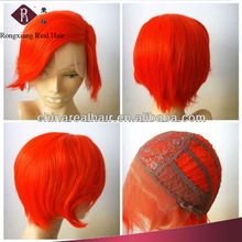 Heat Resistant Synthetic Hair Straight Side Part Short Bob Red party wig