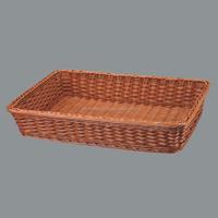 Rectangle plastic woven plastic bread display tray rattan storage basket