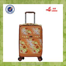 upright yellow flower four wheel inside trolley luggage bag