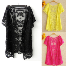 Summer Hollow-Out s lace blouses Embroidery Floral Crochet Short Sleeve Cardigan boutique clothin instyles Women's Clothing