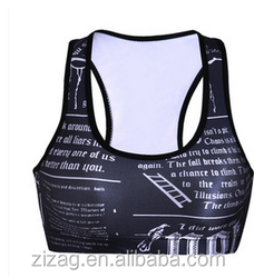 Wholesale OEM digital printing sport bra / quick dry sports bra newspaper Digital printing female yoga sports bra