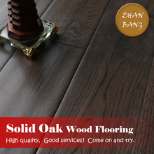Residential black wanut european oak solid handscraped hardwood flooring /plank wooden flooring competitive price