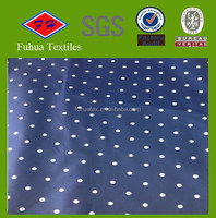 240T Blue White Polka Dot Printed Polyester Pongee fabric