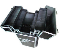 black diamond pattern aluminum makeup case with tool case with wheels