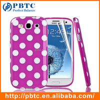 Set Screen Protector And Case For Samsung Galaxy S3 I9300 , Dot Pattern Hard TPU Custom Gel Phone Case