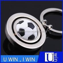 cuatom metal made rotationg ball shape american football keychain