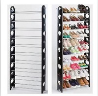 10 layer folding home storage shelf plastic shoe rack with cover(FH-SR00610)