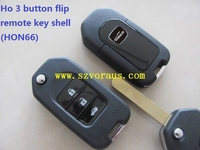 Ho 3 button flip remote key shell with HON66 blade
