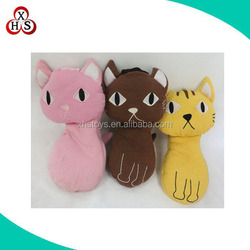 Hot sale plush learning things cat shaped pencil case with tail
