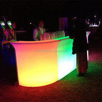 Outdoor party used led illuminated combined rechargeable commercial furniture led bar counter