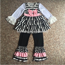 2015 newborn baby gift clothes bulk wholesale black kids clothing with floral ruffles wholesale boutique clothes