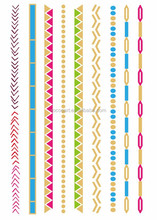 Customized New Coolest Colorful Metallic Fake Gold Foil Temporary Tattoo Chain