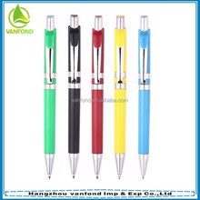 pen factory pushing type hot selling plastic pen with metal clip